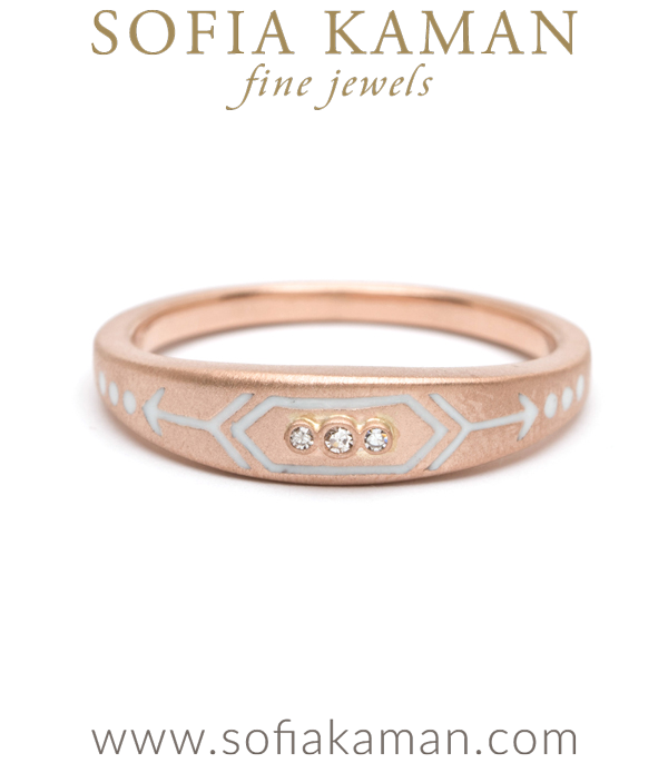 Rose Gold White Enamel Victorian Inspired Arrow Stacking Ring designed by Sofia Kaman handmade in Los Angeles using our SKFJ ethical jewelry process. This piece has been sold and is in the SK Archive.