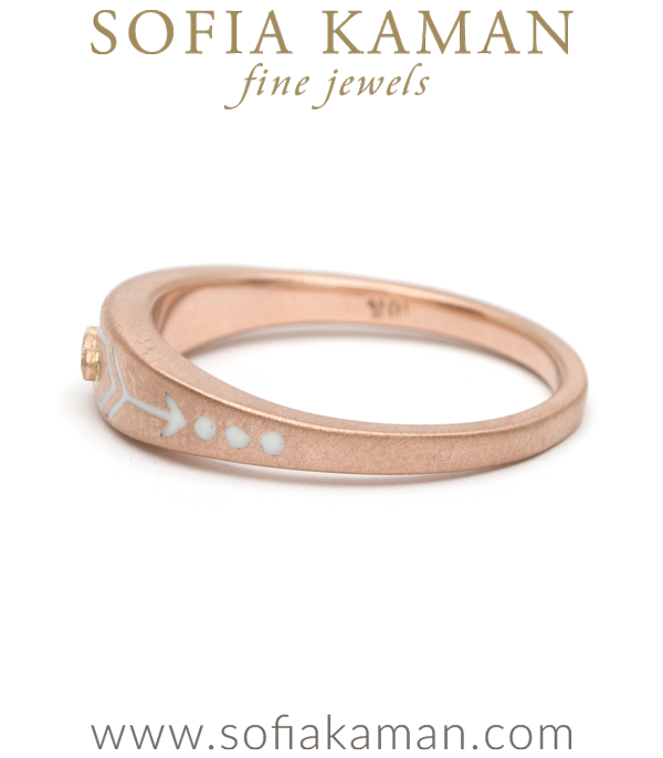 Rose Gold White Enamal Stacking Ring