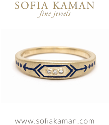 Yellow Gold Blue Enamel Victorian Inspired Arrow Stacking Ring designed by Sofia Kaman handmade in Los Angeles