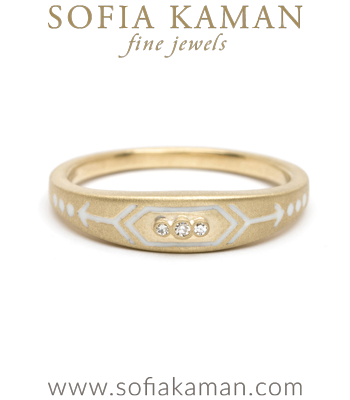 Yellow Gold White Enamel Victorian Inspired Arrow Stacking Ring designed by Sofia Kaman handmade in Los Angeles