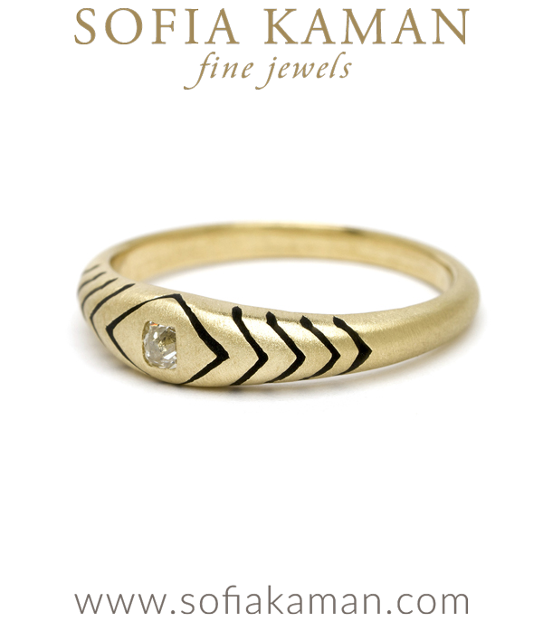 Yellow Gold Black Enamel Snake Stacking Ring