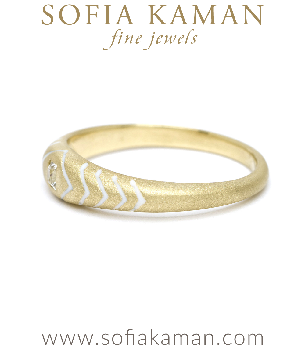 Yellow Gold White Enamel Snake Stacking Ring