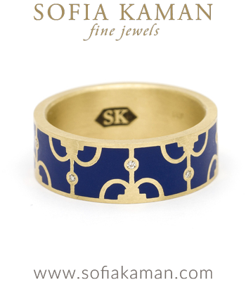 Yellow Gold Blue Enamel Victorian Inspired Compass Diamond Stacking Band designed by Sofia Kaman handmade in Los Angeles