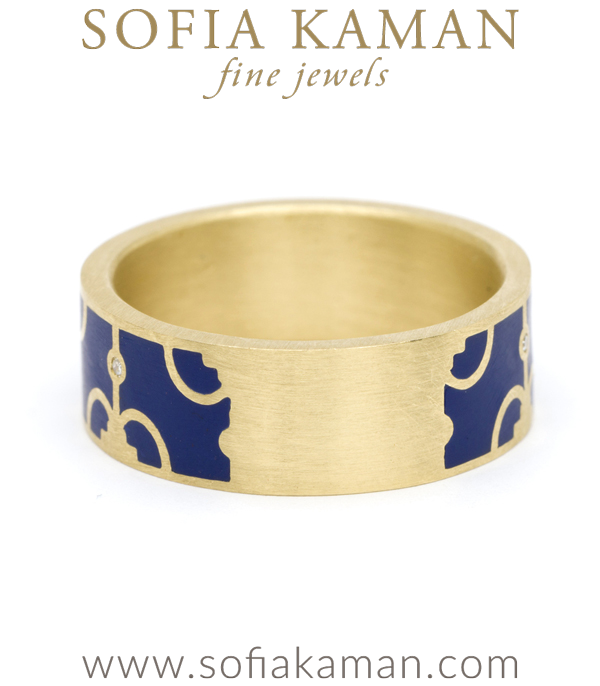 Gold Diamond Enamal Stacking Ring