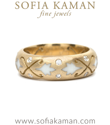 18K Matte Gold Diamond Enamel Ivy Nature Inspired Bohemian Wedding Band made in Los Angeles