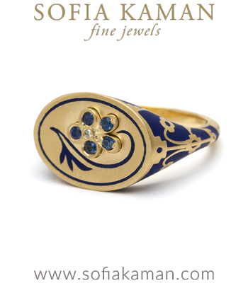 Autumn Edit 18K Matte Yellow Gold White Enamel Sapphire Pansy Signet Ring designed by Sofia Kaman handmade in Los Angeles