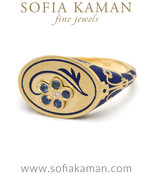 Blue Enamel Language Of Flowers Signet Ring