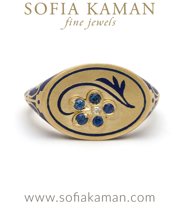 Matte Gold Blue Enamel Signet Ring