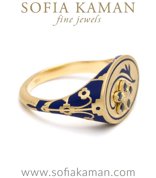 Sofia Kaman Enamel Signet Ring