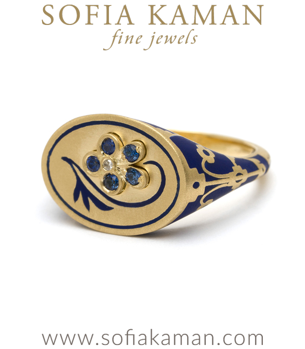 18K Matte Yellow Gold White Enamel Sapphire Pansy Signet Ring designed by Sofia Kaman handmade in Los Angeles using our SKFJ ethical jewelry process.