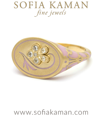 18K Matte Yellow Gold Pink Enamel Rose Cut Diamond Pansy Signet Ring by Sofia Kaman made in Los Angeles