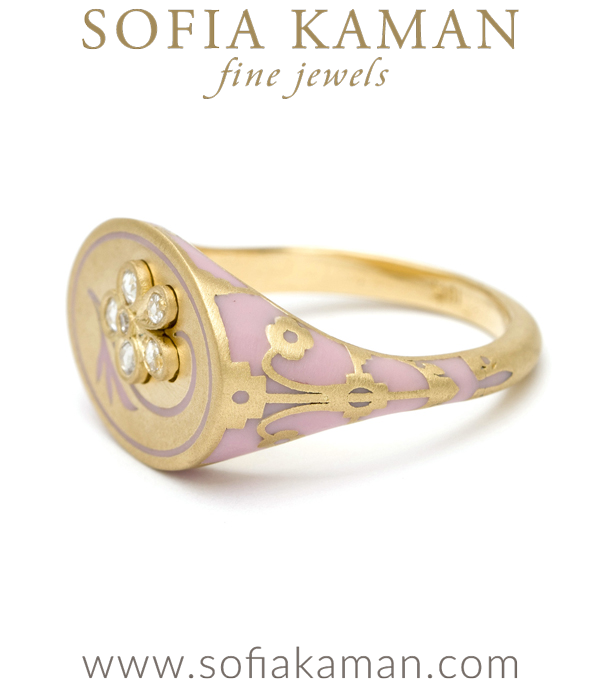 Gold Pink Diamond Pansy Ring