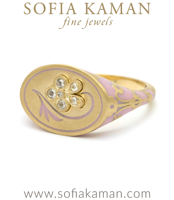18K Matte Yellow Gold Pink Enamel Rose Cut Diamond Pansy Signet Ring designed by Sofia Kaman handmade in Los Angeles