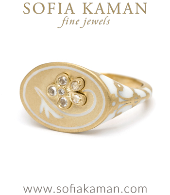 18K Matte Yellow Gold White Enamel Rose Cut Diamond Pansy Signet Ring designed by Sofia Kaman handmade in Los Angeles