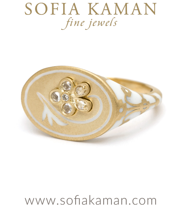 18K Matte Yellow Gold White Enamel Rose Cut Diamond Pansy Signet Ring designed by Sofia Kaman handmade in Los Angeles using our SKFJ ethical jewelry process. This piece has been sold and is in the SK Archive.