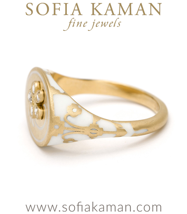 Gold Enamel Rose Cut Diamond Signet Ring
