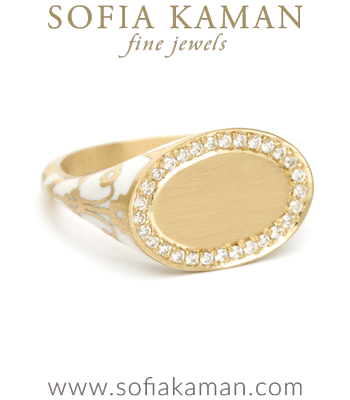 18K Matte Yellow Gold White Enamel Pave Diamond Oval Engravable Initial Boho Signet Ring designed by Sofia Kaman handmade in Los Angeles