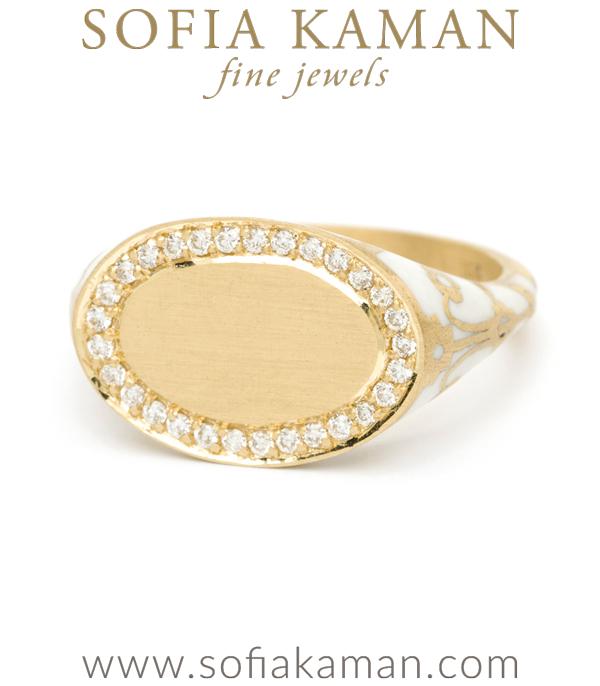 Sofia Kaman Engravable White Enamel Signet Ring