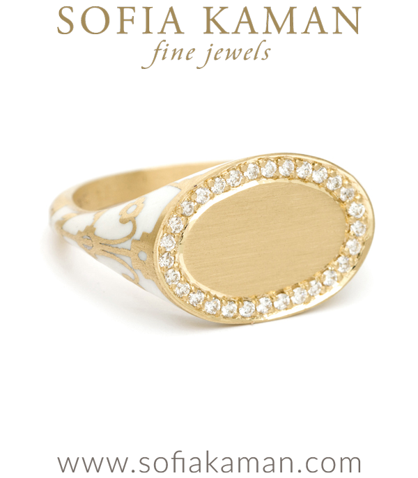 18K Matte Yellow Gold White Enamel Pave Diamond Oval Engravable Initial Boho Signet Ring designed by Sofia Kaman handmade in Los Angeles using our SKFJ ethical jewelry process.