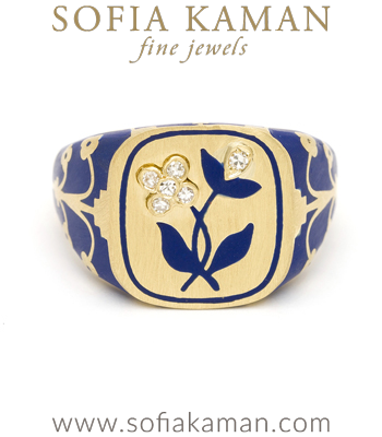Yellow Gold Blue Enamel Old Cut Diamond Flower Cushion Signet Ring designed by Sofia Kaman handmade in Los Angeles