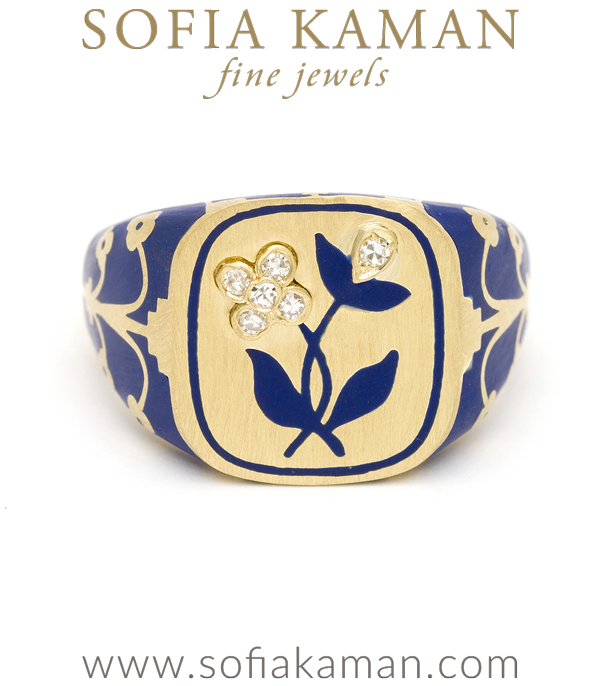 Yellow Gold Blue Enamel Flower Cushion Signet Ring