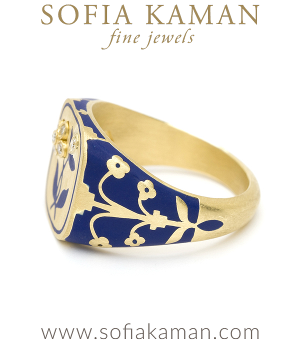 Yellow Gold Blue Enamel Signet Ring