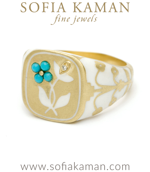 Gold Enamel Diamond Turquoise Signet Ring