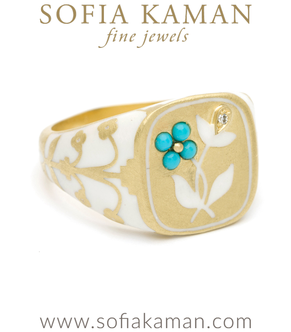 Yellow Gold White Enamal Cushion Pansy Signet Ring
