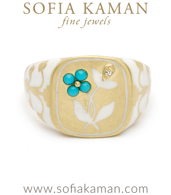 Yellow Gold White Enamel Turquoise Pansy Diamond Accent Cushion Signet by Sofia Kaman made in Los Angeles
