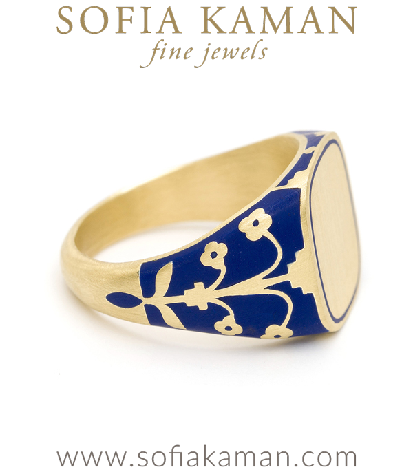 Language Of Flowers Blue Enamel Signet Ring