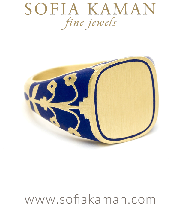 Sofia Kaman Blue Enamel Cushion Singet Ring