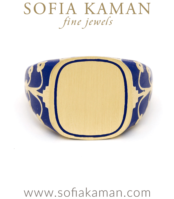 Yellow Gold Navy Blue Enamel Engrave Cushion Signet Ring  designed by Sofia Kaman handmade in Los Angeles