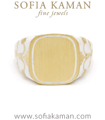 Yellow Gold White Enamel Engrave Cushion Signet Ring designed by Sofia Kaman handmade in Los Angeles