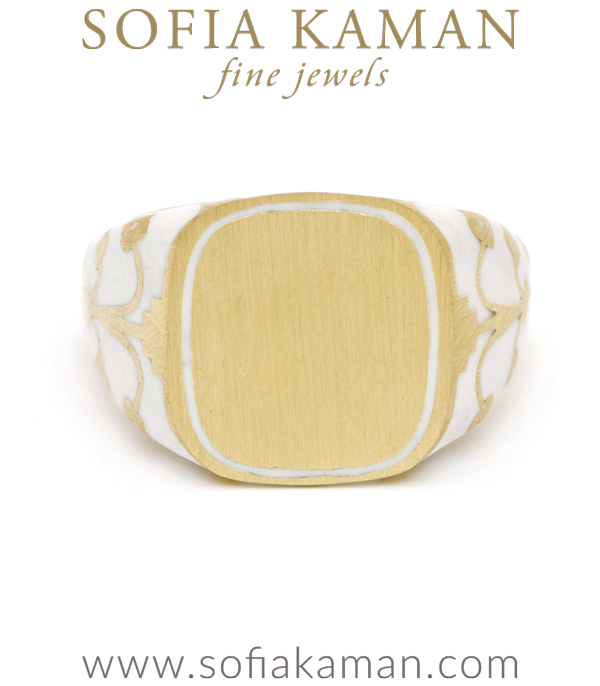Yellow Gold White Enamel Engrave Cushion Signet Ring designed by Sofia Kaman handmade in Los Angeles using our SKFJ ethical jewelry process.