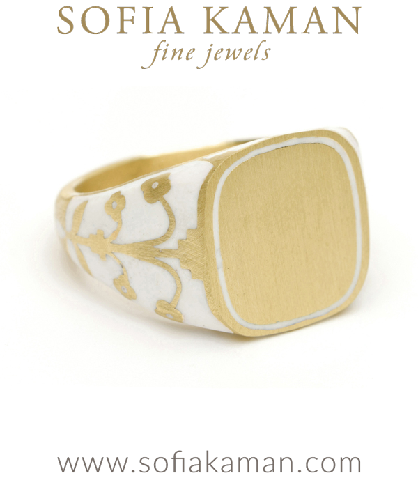 Yellow Gold White Enamel Signet Ring