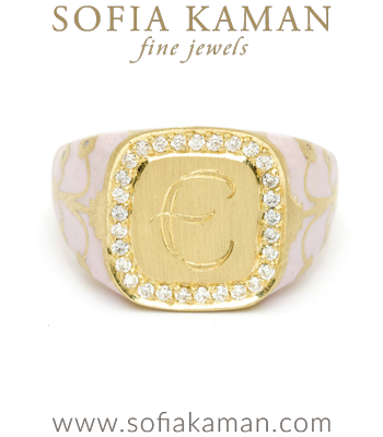 Yellow Gold Pink Enamel Diamond Halo Engrave Cushion Signet Ring designed by Sofia Kaman handmade in Los Angeles