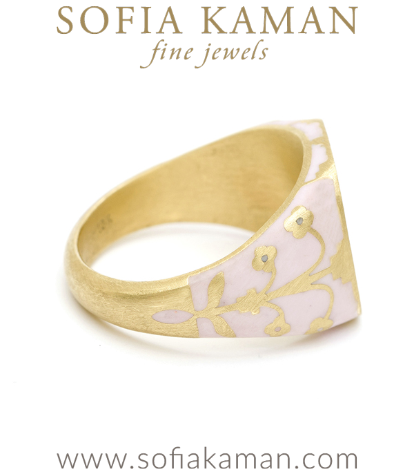 Pink Enamal Diamond Halo Cushion Signet Ring