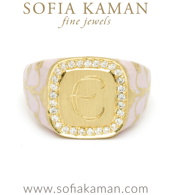 Yellow Gold Pink Enamal Diamond Halo Cushion Signet Ring