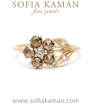 14K Gold Antique Inspired One of a Kind Flower Champagne Diamond Bohemian Engagement Ring made in Los Angeles