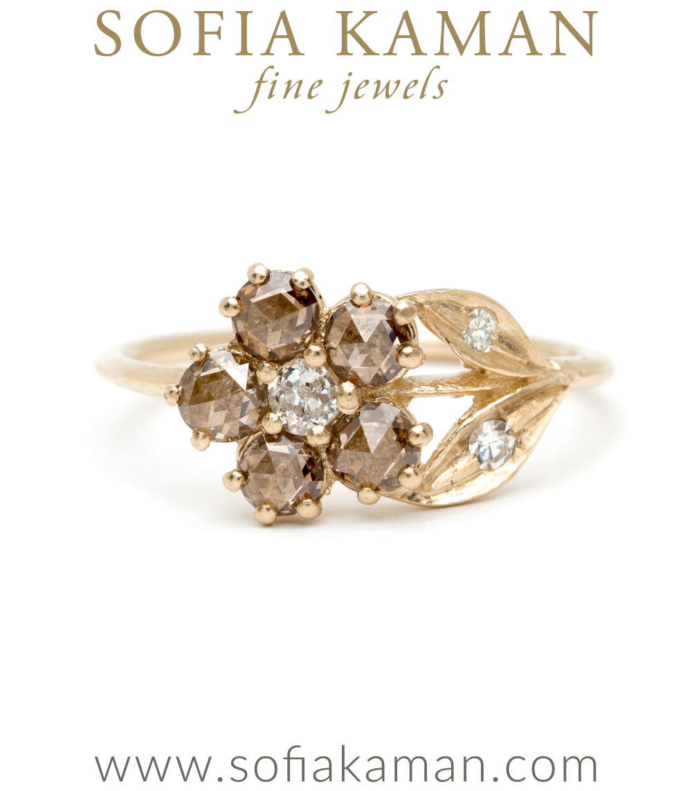 Antique Inspired Flower Ring Champagne Diamonds