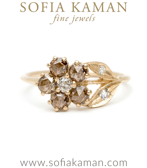 14K Gold Antique Inspired One of a Kind Flower Champagne Diamond Bohemian Engagement Ring designed by Sofia Kaman handmade in Los Angeles using our SKFJ ethical jewelry process.