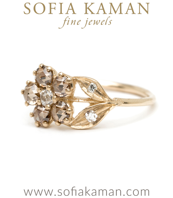 Antique Inspired Flower Champagne Diamond Ring