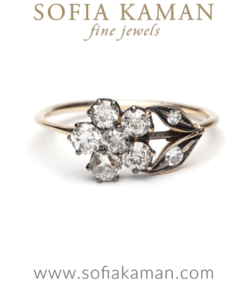 14K Gold Antique Inspired One of a Kind Flower Diamond Bohemian Engagement Ring made in Los Angeles