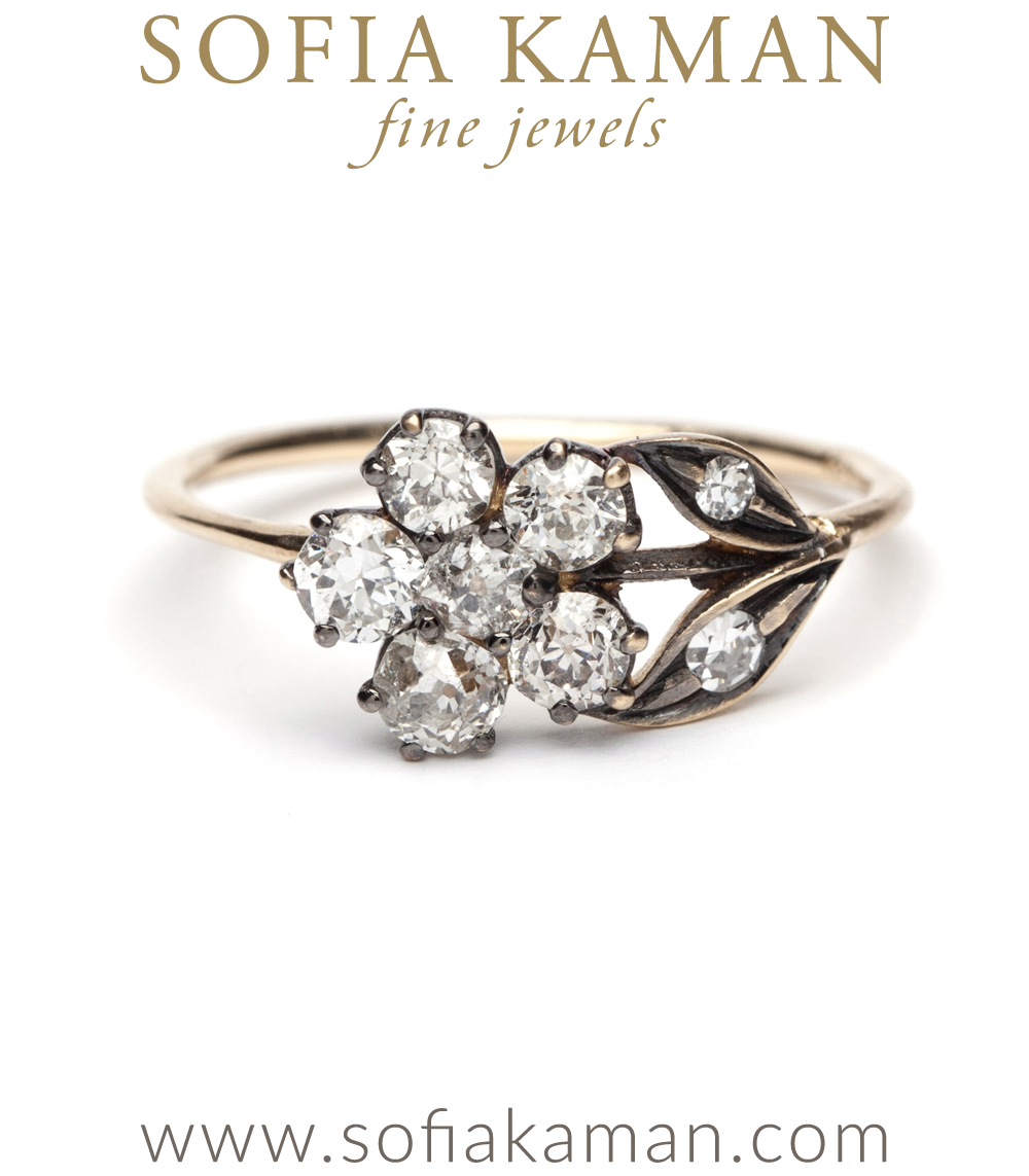 Antique Inspired Flower Ring Diamonds
