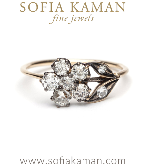Antique Inspired Flower Ring With Diamonds