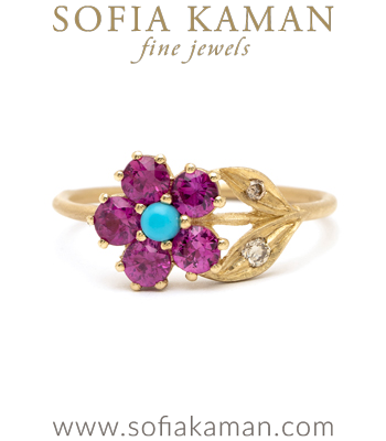 Pink Sapphire Turquoise Unique Engagement Rings designed by Sofia Kaman handmade in Los Angeles