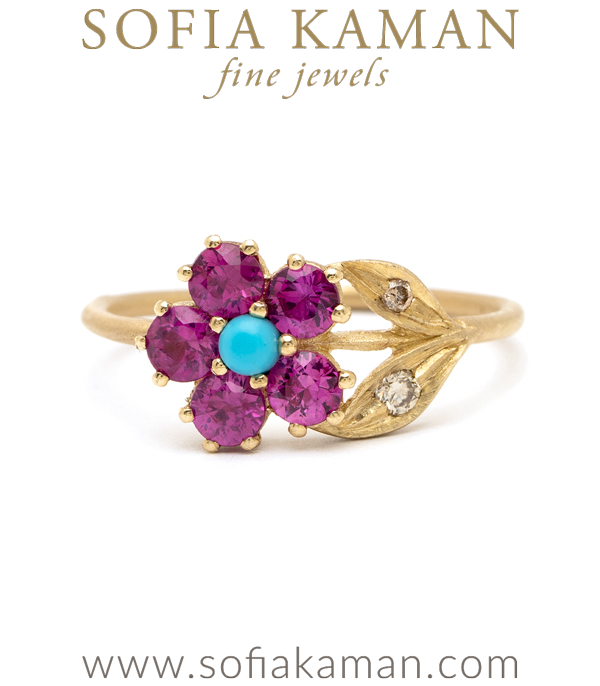 Pink Sapphire Turquoise Unique Engagement Rings designed by Sofia Kaman handmade in Los Angeles using our SKFJ ethical jewelry process.
