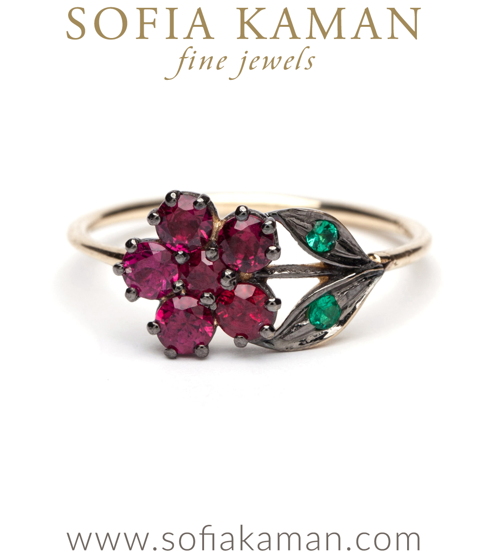 Antique Inspired Flower Ring-Rubies