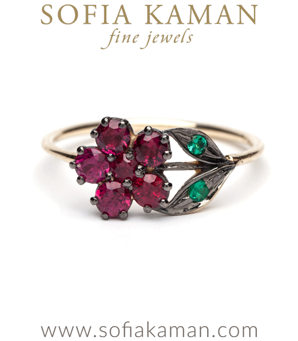 14K Gold Antique Inspired One of a Kind Flower Ruby Bohemian Engagement Ring designed by Sofia Kaman handmade in Los Angeles using our SKFJ ethical jewelry process.