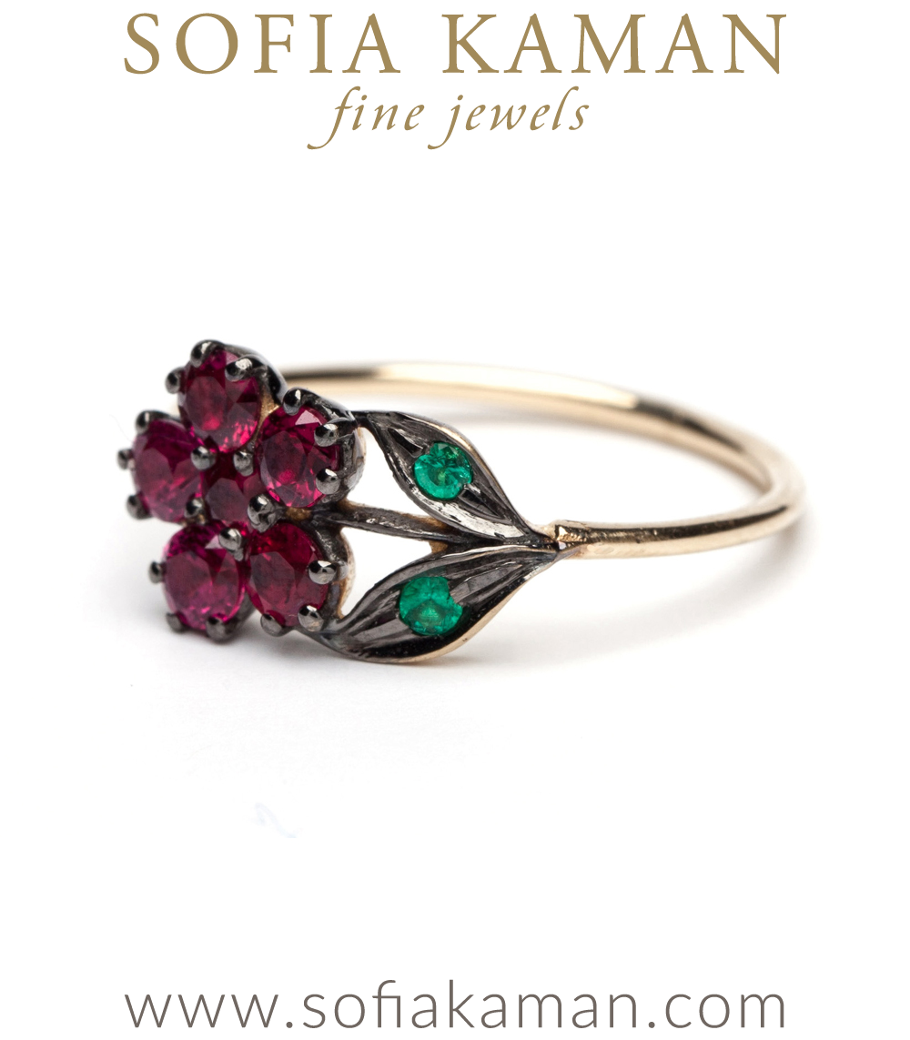 Antique Inspired Flower Ruby Ring